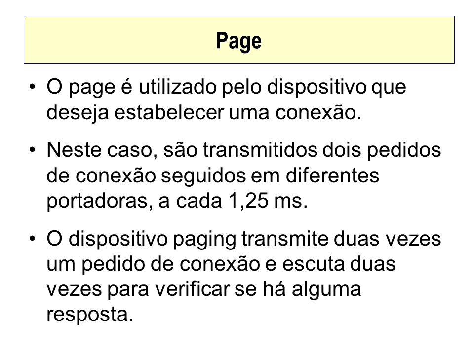 Page O page é utilizado pelo dispositivo que deseja estabelecer uma conexão. Neste caso, são transmitidos dois pedidos de conexão seguidos em diferent