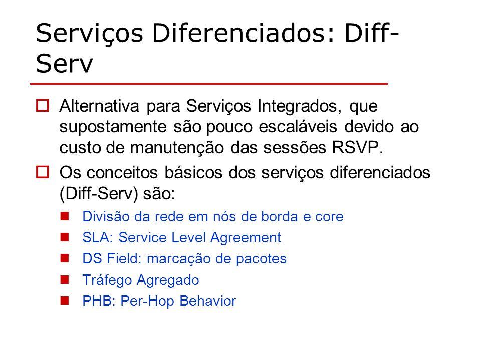 Serviços Diferenciados: Diff- Serv Alternativa para Serviços Integrados, que supostamente são pouco escaláveis devido ao custo de manutenção das sessões RSVP.