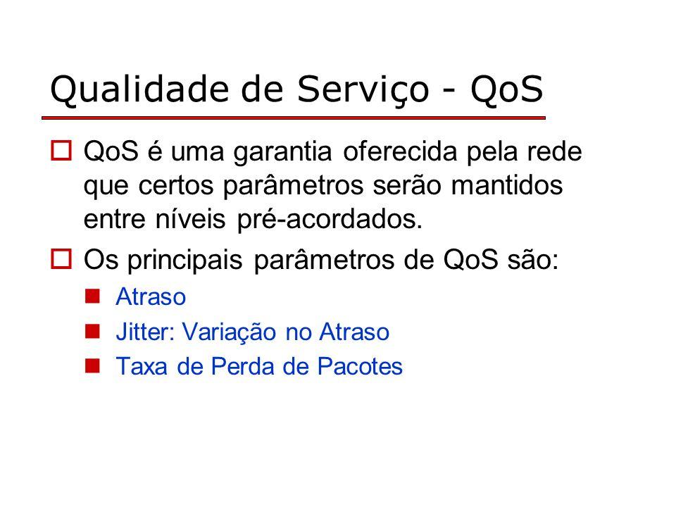 Qualidade de Serviço - QoS QoS é uma garantia oferecida pela rede que certos parâmetros serão mantidos entre níveis pré-acordados.