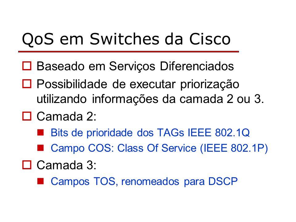 QoS em Switches da Cisco Baseado em Serviços Diferenciados Possibilidade de executar priorização utilizando informações da camada 2 ou 3.