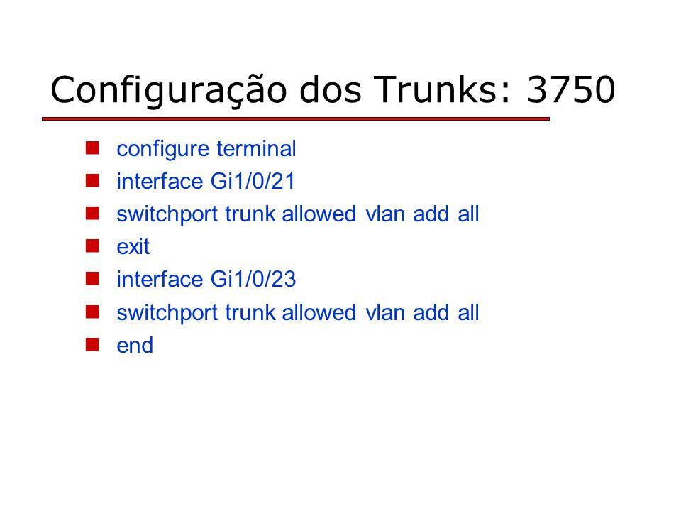 Configuração dos Trunks: 3750 configure terminal interface Gi1/0/21 switchport trunk allowed vlan add all exit interface Gi1/0/23 switchport trunk allowed vlan add all end