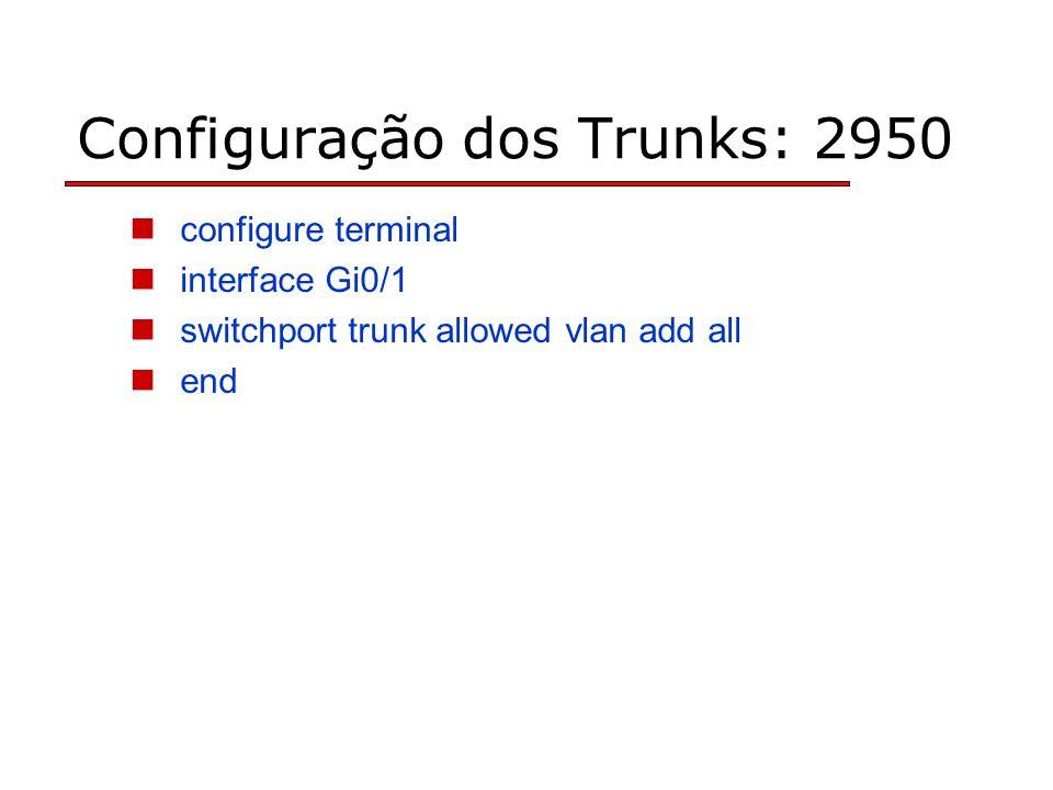 Configuração dos Trunks: 2950 configure terminal interface Gi0/1 switchport trunk allowed vlan add all end