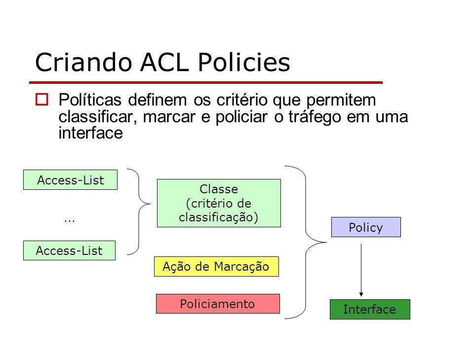 Criando ACL Policies Políticas definem os critério que permitem classificar, marcar e policiar o tráfego em uma interface Access-List Classe (critério de classificação) Ação de Marcação Policiamento Policy Interface...