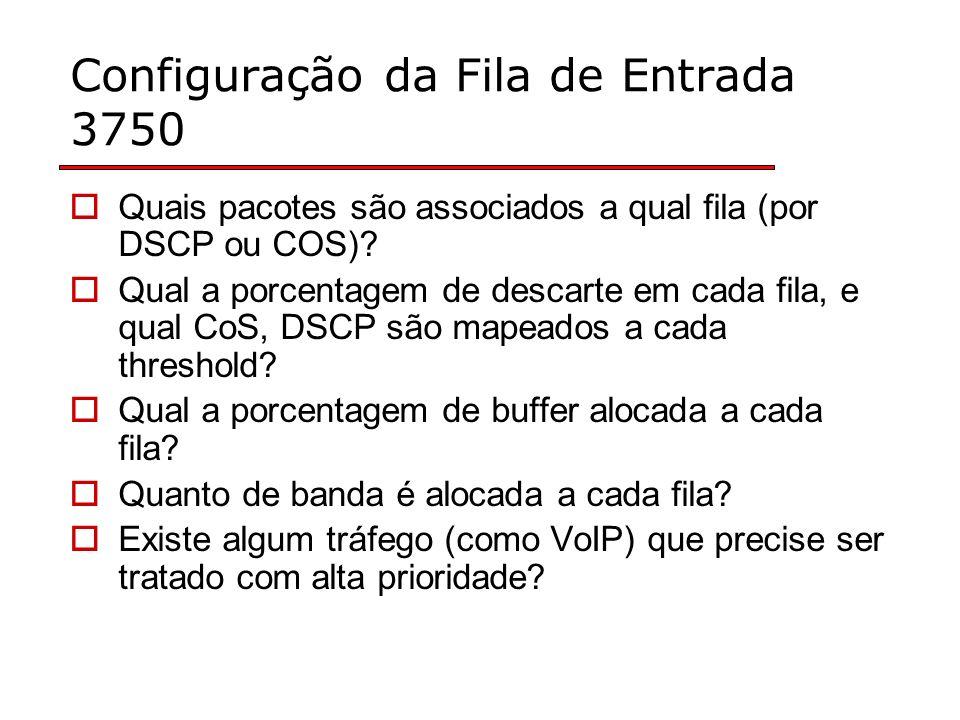 Configuração da Fila de Entrada 3750 Quais pacotes são associados a qual fila (por DSCP ou COS).