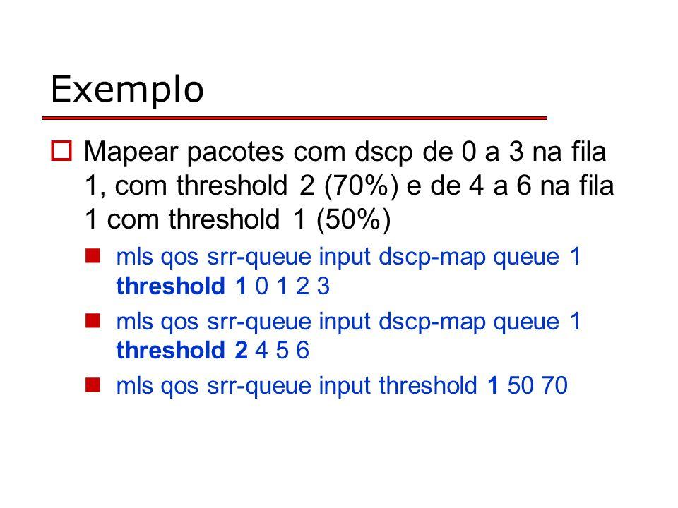 Exemplo Mapear pacotes com dscp de 0 a 3 na fila 1, com threshold 2 (70%) e de 4 a 6 na fila 1 com threshold 1 (50%) mls qos srr-queue input dscp-map queue 1 threshold 1 0 1 2 3 mls qos srr-queue input dscp-map queue 1 threshold 2 4 5 6 mls qos srr-queue input threshold 1 50 70