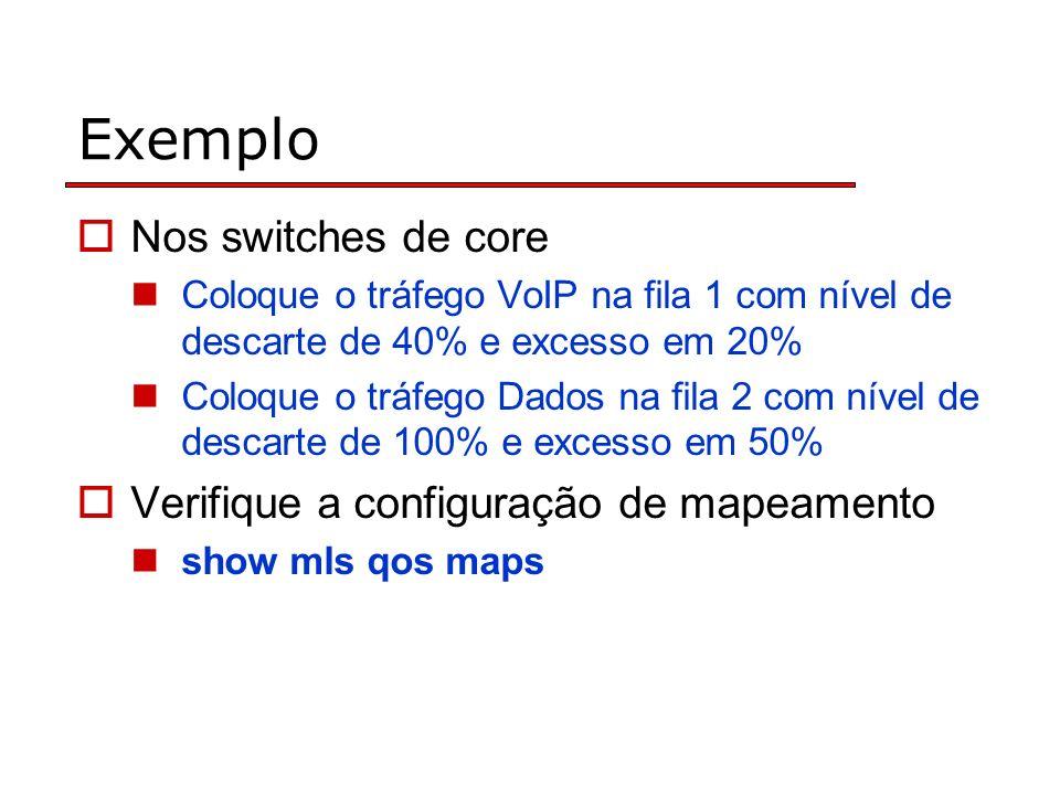 Exemplo Nos switches de core Coloque o tráfego VoIP na fila 1 com nível de descarte de 40% e excesso em 20% Coloque o tráfego Dados na fila 2 com nível de descarte de 100% e excesso em 50% Verifique a configuração de mapeamento show mls qos maps