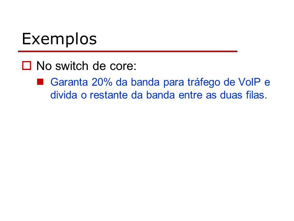 Exemplos No switch de core: Garanta 20% da banda para tráfego de VoIP e divida o restante da banda entre as duas filas.