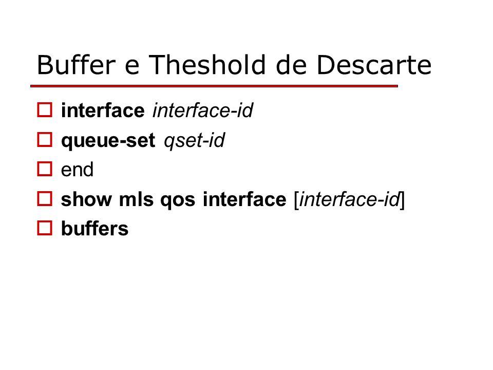 Buffer e Theshold de Descarte interface interface-id queue-set qset-id end show mls qos interface [interface-id] buffers