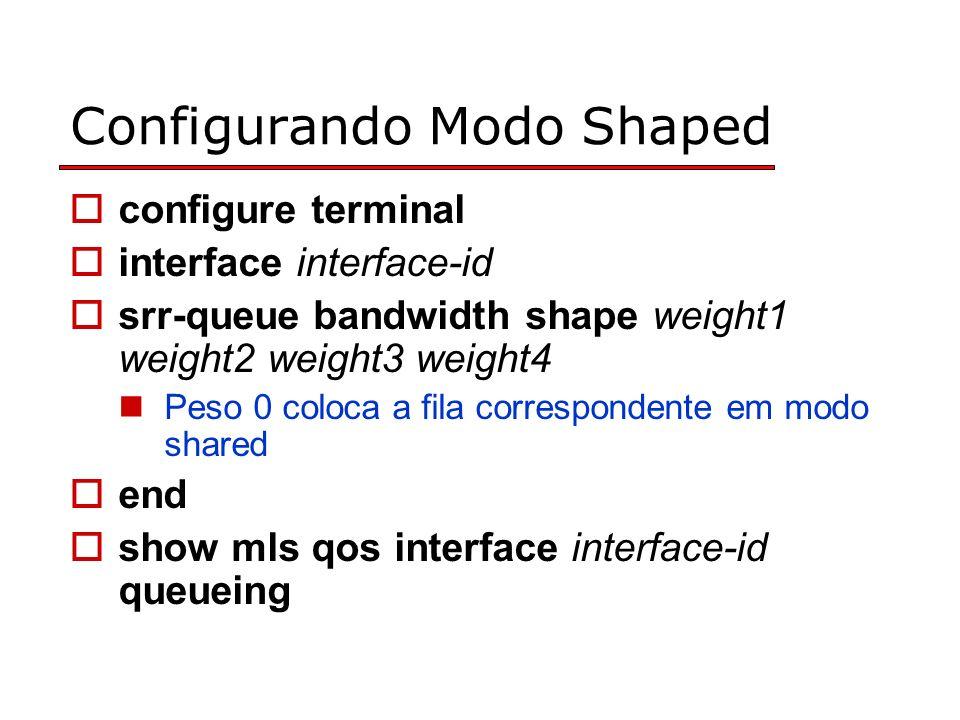 Configurando Modo Shaped configure terminal interface interface-id srr-queue bandwidth shape weight1 weight2 weight3 weight4 Peso 0 coloca a fila correspondente em modo shared end show mls qos interface interface-id queueing
