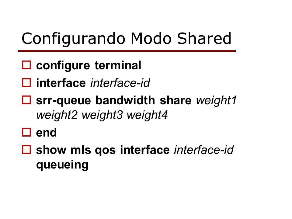Configurando Modo Shared configure terminal interface interface-id srr-queue bandwidth share weight1 weight2 weight3 weight4 end show mls qos interface interface-id queueing