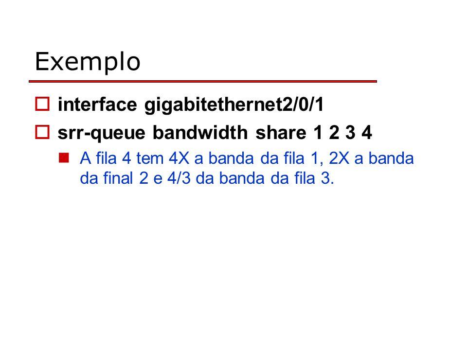 Exemplo interface gigabitethernet2/0/1 srr-queue bandwidth share 1 2 3 4 A fila 4 tem 4X a banda da fila 1, 2X a banda da final 2 e 4/3 da banda da fila 3.