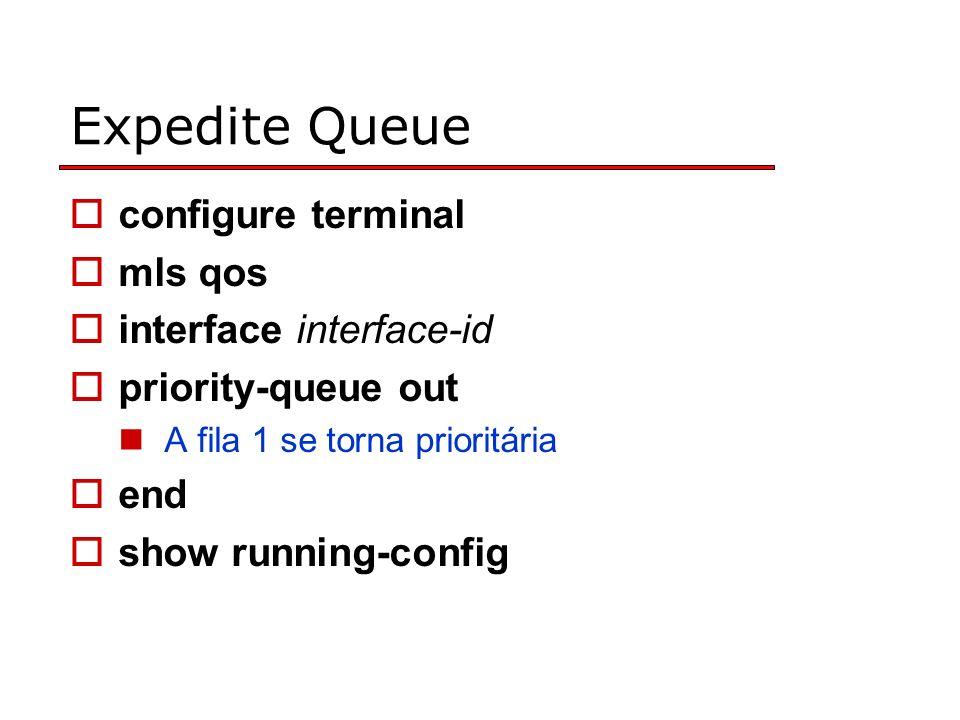 Expedite Queue configure terminal mls qos interface interface-id priority-queue out A fila 1 se torna prioritária end show running-config