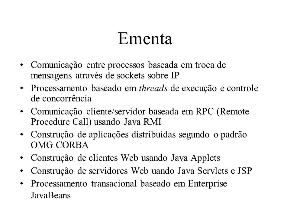 Ementa Comunicação entre processos baseada em troca de mensagens através de sockets sobre IP Processamento baseado em threads de execução e controle d