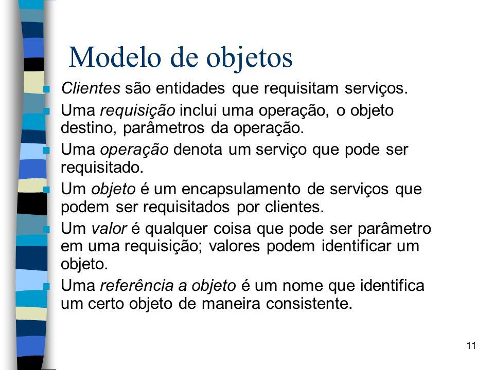 11 Modelo de objetos n Clientes são entidades que requisitam serviços. n Uma requisição inclui uma operação, o objeto destino, parâmetros da operação.
