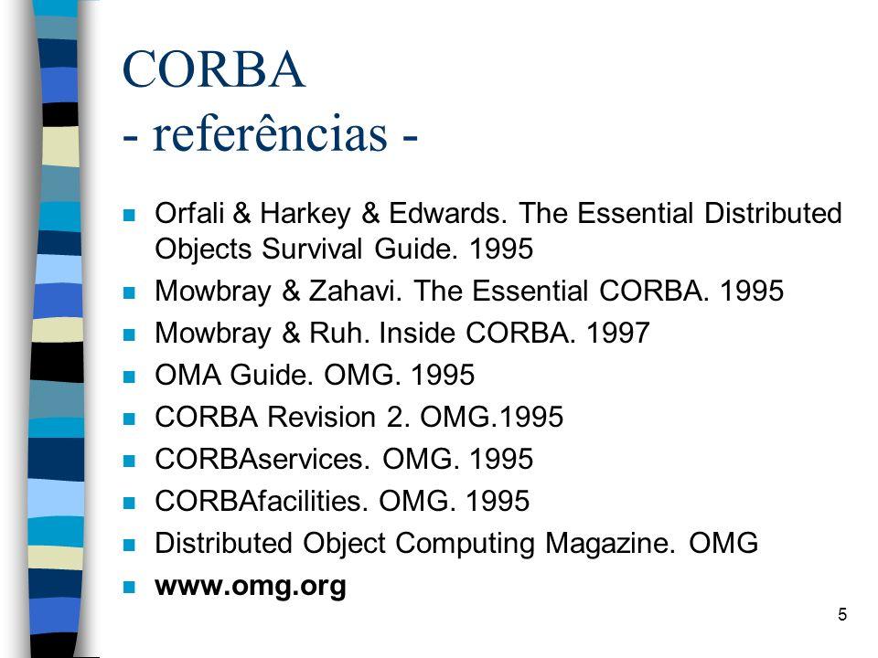 6 CORBA – algumas referências disponíveis na biblioteca da PUCPR n Advanced CORBA programming with C++ n Client/ server programming with Java and CORBA - 2nd ed.