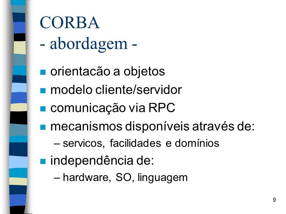 9 CORBA - abordagem - n orientacão a objetos n modelo cliente/servidor n comunicação via RPC n mecanismos disponíveis através de: –servicos, facilidad