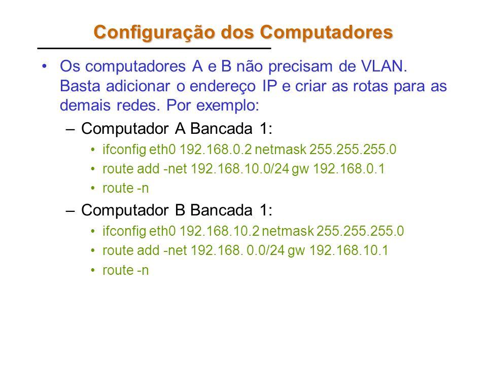 Configuração dos Computadores Os computadores A e B não precisam de VLAN. Basta adicionar o endereço IP e criar as rotas para as demais redes. Por exe