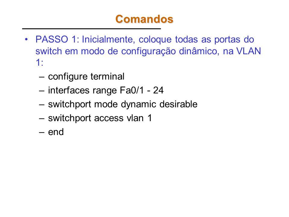 Comandos PASSO 1: Inicialmente, coloque todas as portas do switch em modo de configuração dinâmico, na VLAN 1: –configure terminal –interfaces range F