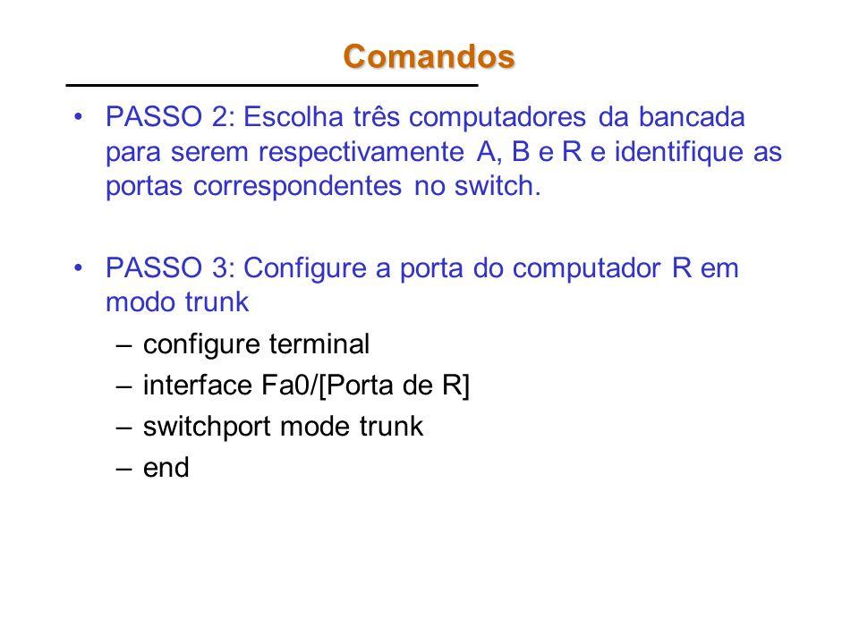Comandos PASSO 4: Configure a porta do computador A com o número da VLAN correspondente [2, 4 ou 6] –configure terminal –interface Fa0/[Porta de A] –switchport access vlan [2,4 ou 6] –end PASSO 5: Configure a porta do computador B com o número da VLAN correspondente [3, 5 ou 7] –configure terminal –interface Fa0/[Porta de B] –switchport access vlan [3,5 ou 7] –end