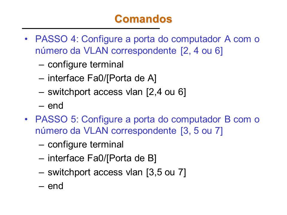 Comandos PASSO 4: Configure a porta do computador A com o número da VLAN correspondente [2, 4 ou 6] –configure terminal –interface Fa0/[Porta de A] –s