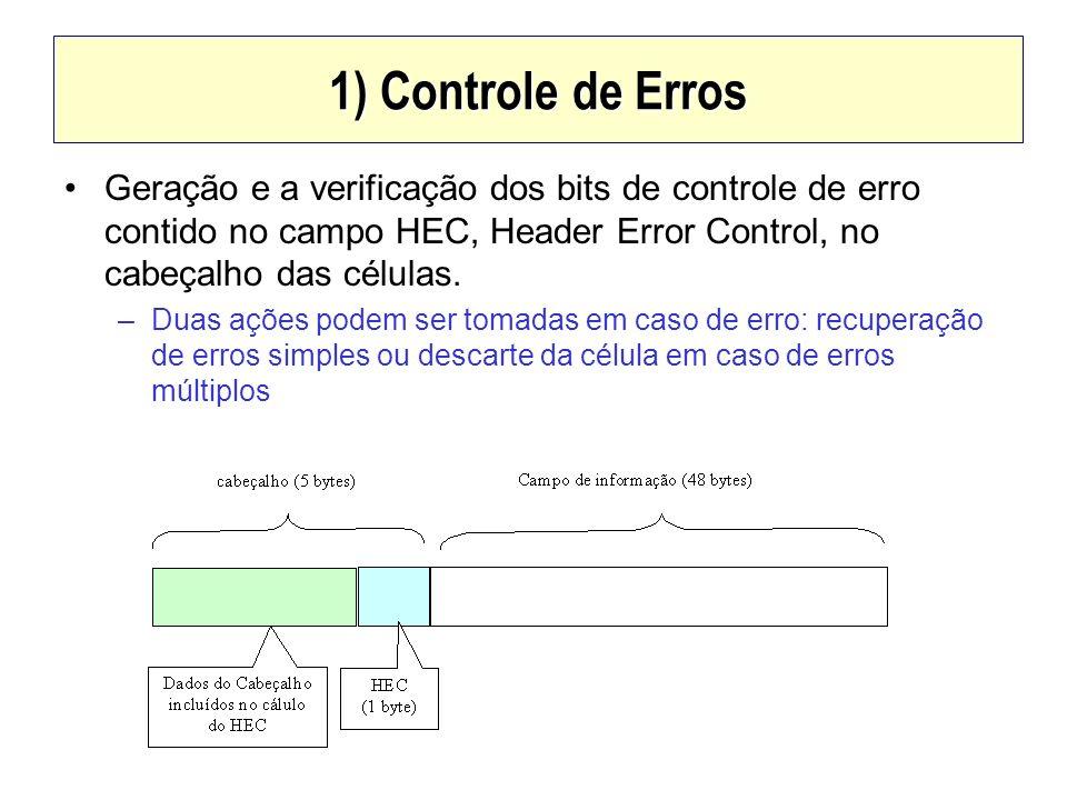 1) Controle de Erros Geração e a verificação dos bits de controle de erro contido no campo HEC, Header Error Control, no cabeçalho das células. –Duas