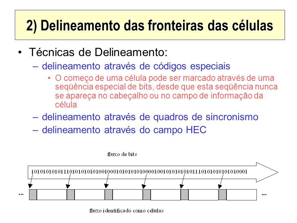 2) Delineamento das fronteiras das células Técnicas de Delineamento: –delineamento através de códigos especiais O começo de uma célula pode ser marcad