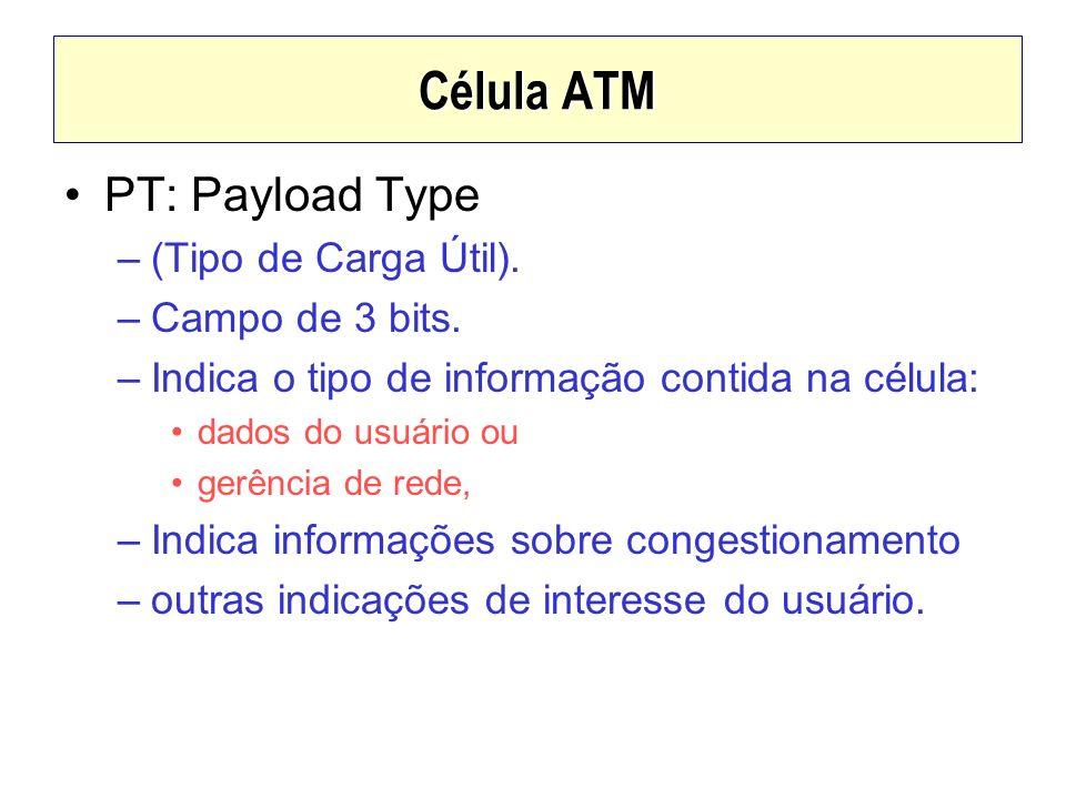 Célula ATM PT: Payload Type –(Tipo de Carga Útil). –Campo de 3 bits. –Indica o tipo de informação contida na célula: dados do usuário ou gerência de r