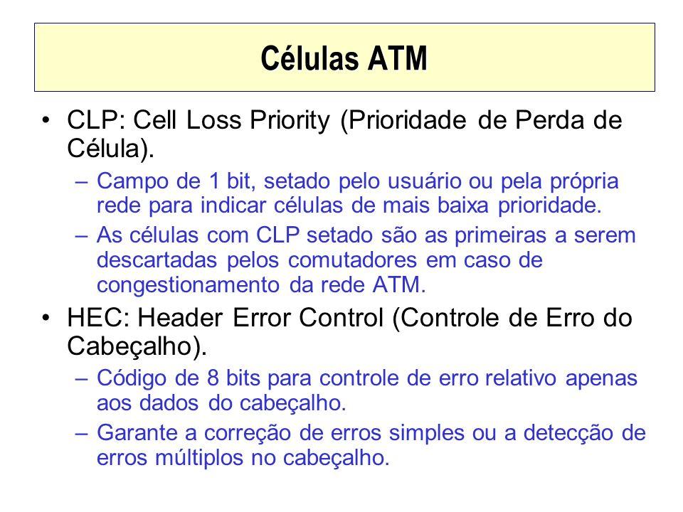 Células ATM CLP: Cell Loss Priority (Prioridade de Perda de Célula). –Campo de 1 bit, setado pelo usuário ou pela própria rede para indicar células de