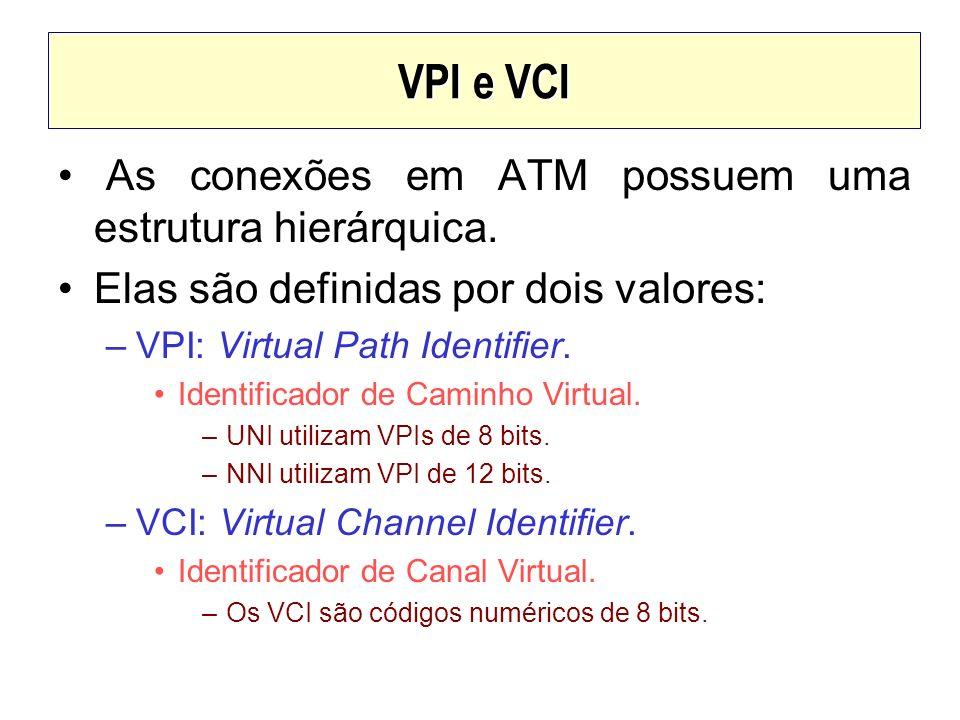 VPI e VCI As conexões em ATM possuem uma estrutura hierárquica. Elas são definidas por dois valores: –VPI: Virtual Path Identifier. Identificador de C