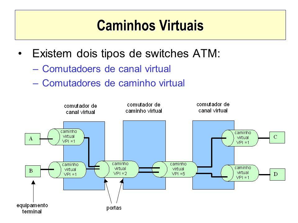 Caminhos Virtuais Existem dois tipos de switches ATM: –Comutadoers de canal virtual –Comutadores de caminho virtual
