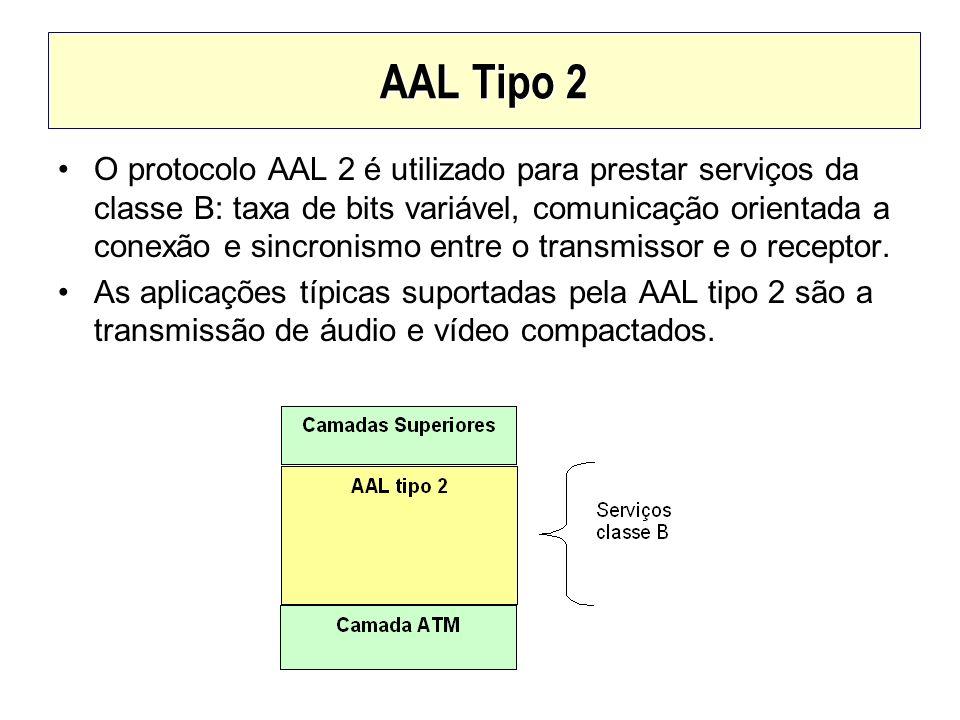 AAL Tipo 2 O protocolo AAL 2 é utilizado para prestar serviços da classe B: taxa de bits variável, comunicação orientada a conexão e sincronismo entre