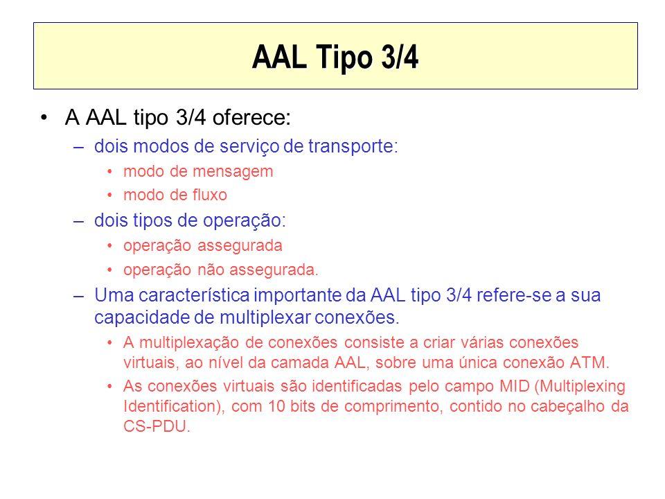 AAL Tipo 3/4 A AAL tipo 3/4 oferece: –dois modos de serviço de transporte: modo de mensagem modo de fluxo –dois tipos de operação: operação assegurada