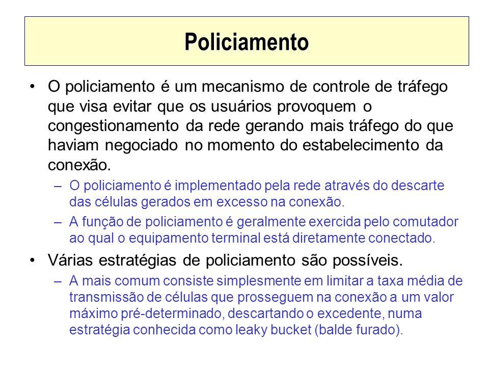 Policiamento O policiamento é um mecanismo de controle de tráfego que visa evitar que os usuários provoquem o congestionamento da rede gerando mais tr