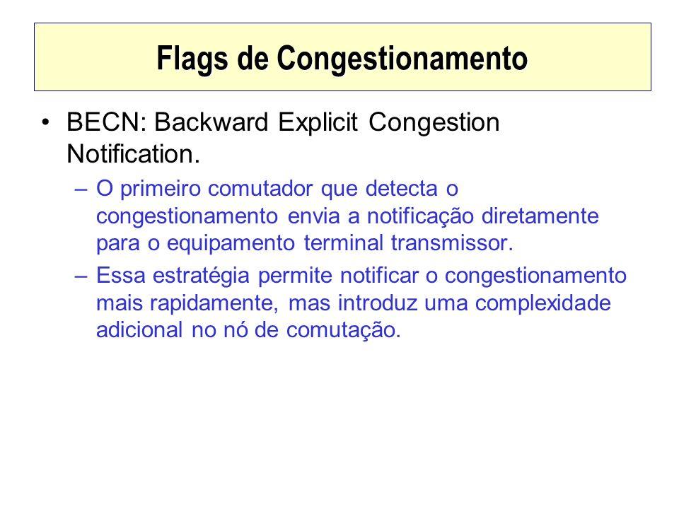 Flags de Congestionamento BECN: Backward Explicit Congestion Notification. –O primeiro comutador que detecta o congestionamento envia a notificação di