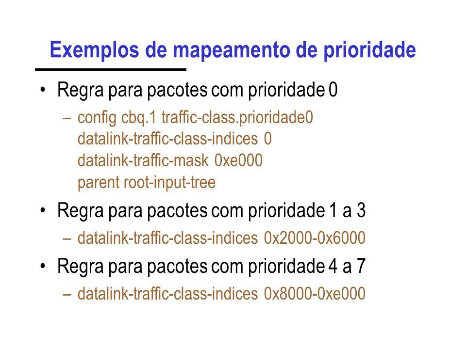 Exemplos de mapeamento de prioridade Regra para pacotes com prioridade 0 –config cbq.1 traffic-class.prioridade0 datalink-traffic-class-indices 0 data