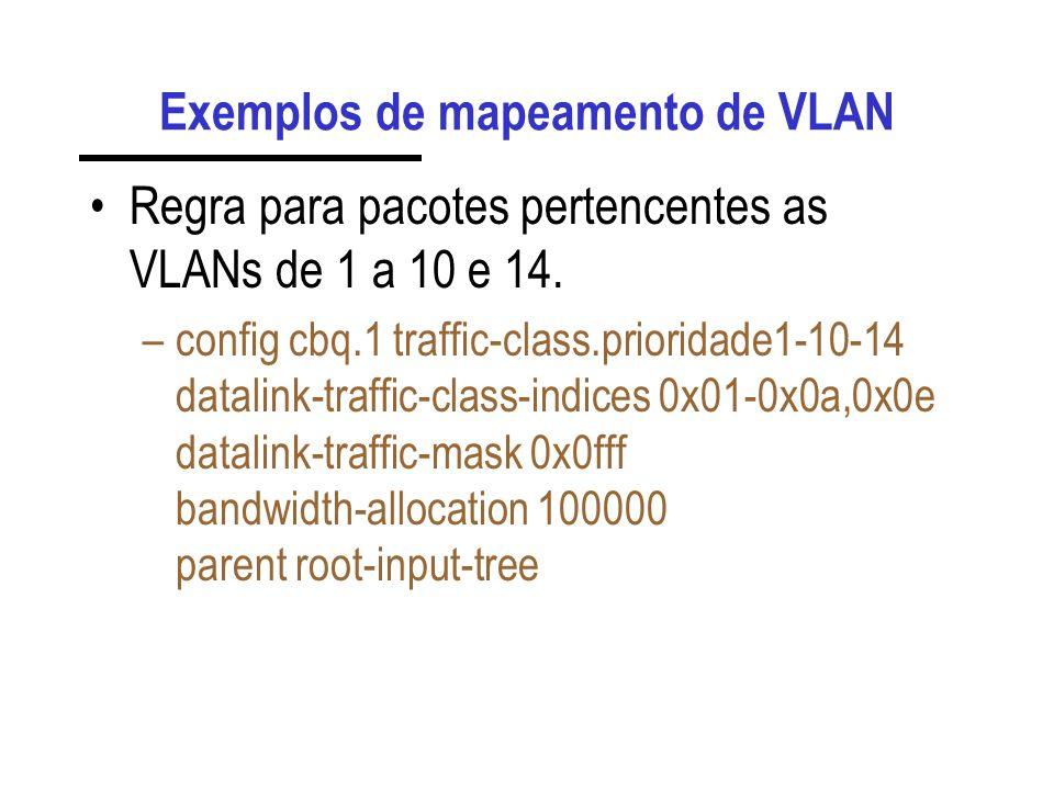 Exemplos de mapeamento de VLAN Regra para pacotes pertencentes as VLANs de 1 a 10 e 14. –config cbq.1 traffic-class.prioridade1-10-14 datalink-traffic