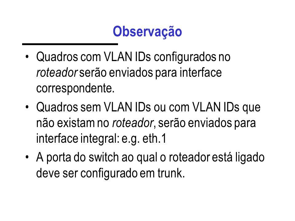 Observação Quadros com VLAN IDs configurados no roteador serão enviados para interface correspondente. Quadros sem VLAN IDs ou com VLAN IDs que não ex