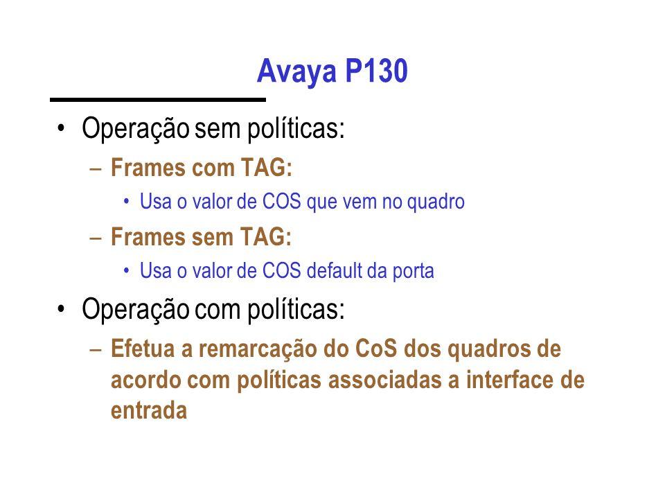 Avaya P130 Operação sem políticas: – Frames com TAG: Usa o valor de COS que vem no quadro – Frames sem TAG: Usa o valor de COS default da porta Operaç