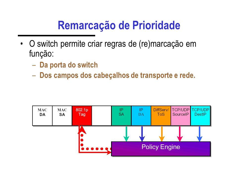 Remarcação de Prioridade O switch permite criar regras de (re)marcação em função: – Da porta do switch – Dos campos dos cabeçalhos de transporte e red