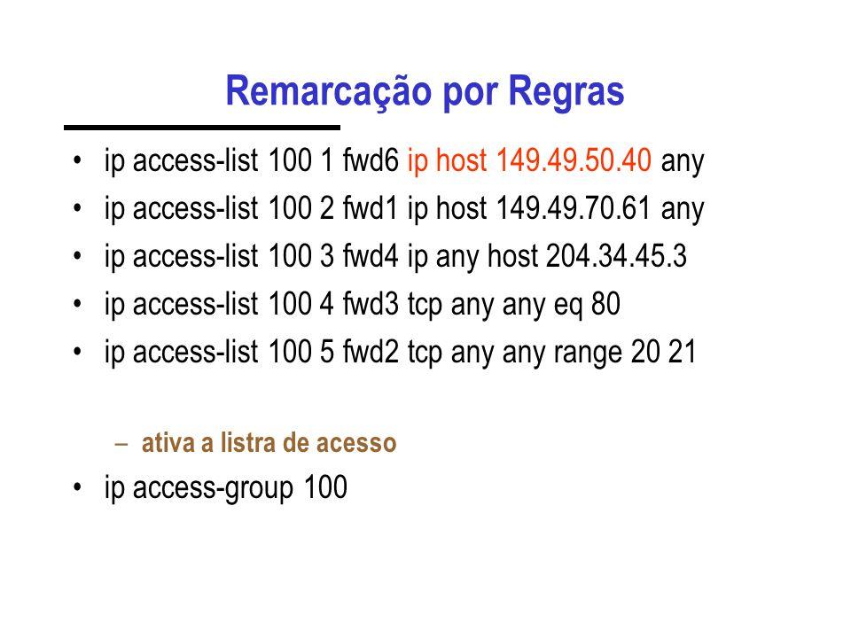 Remarcação por Regras ip access-list 100 1 fwd6 ip host 149.49.50.40 any ip access-list 100 2 fwd1 ip host 149.49.70.61 any ip access-list 100 3 fwd4