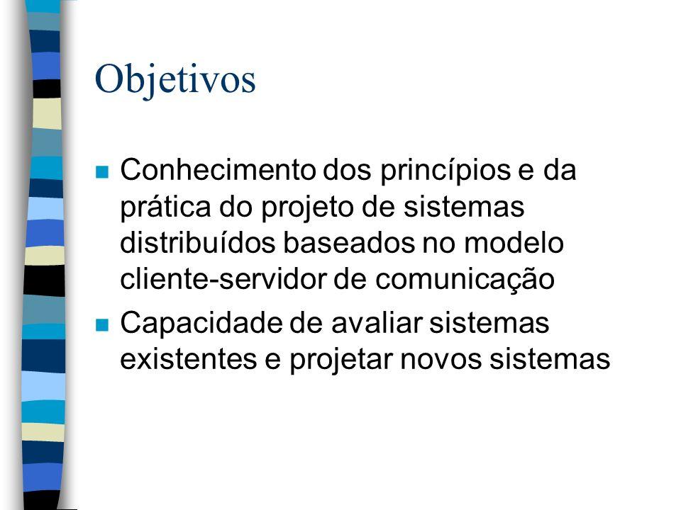 Objetivos n Conhecimento dos princípios e da prática do projeto de sistemas distribuídos baseados no modelo cliente-servidor de comunicação n Capacida