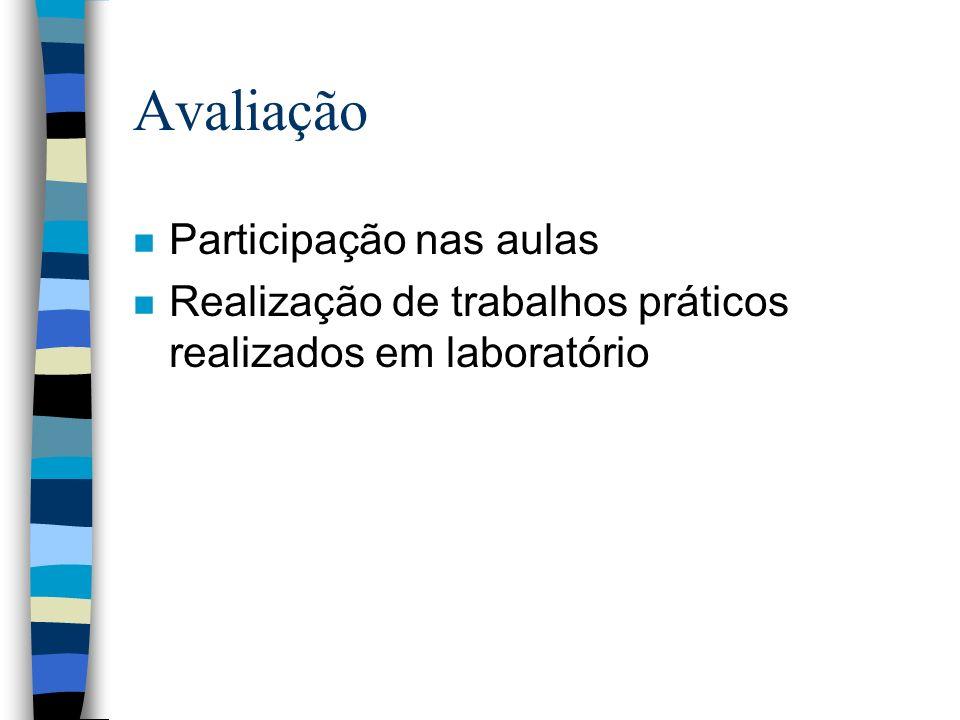 Avaliação n Participação nas aulas n Realização de trabalhos práticos realizados em laboratório