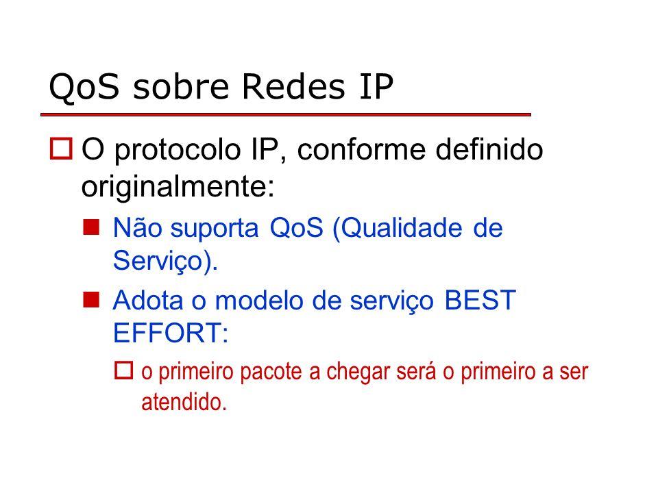 QoS sobre Redes IP O protocolo IP, conforme definido originalmente: Não suporta QoS (Qualidade de Serviço). Adota o modelo de serviço BEST EFFORT: o p