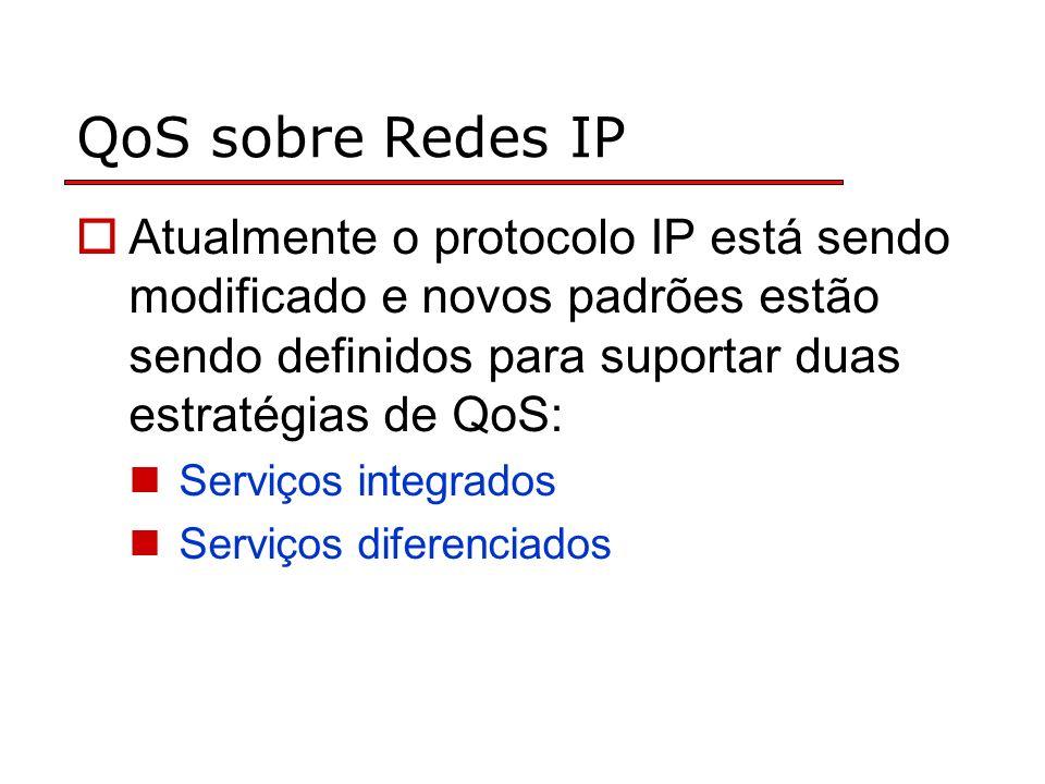 QoS sobre Redes IP Atualmente o protocolo IP está sendo modificado e novos padrões estão sendo definidos para suportar duas estratégias de QoS: Serviç