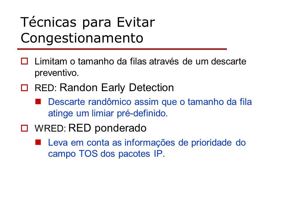 Técnicas para Evitar Congestionamento Limitam o tamanho da filas através de um descarte preventivo. RED: Randon Early Detection Descarte randômico ass