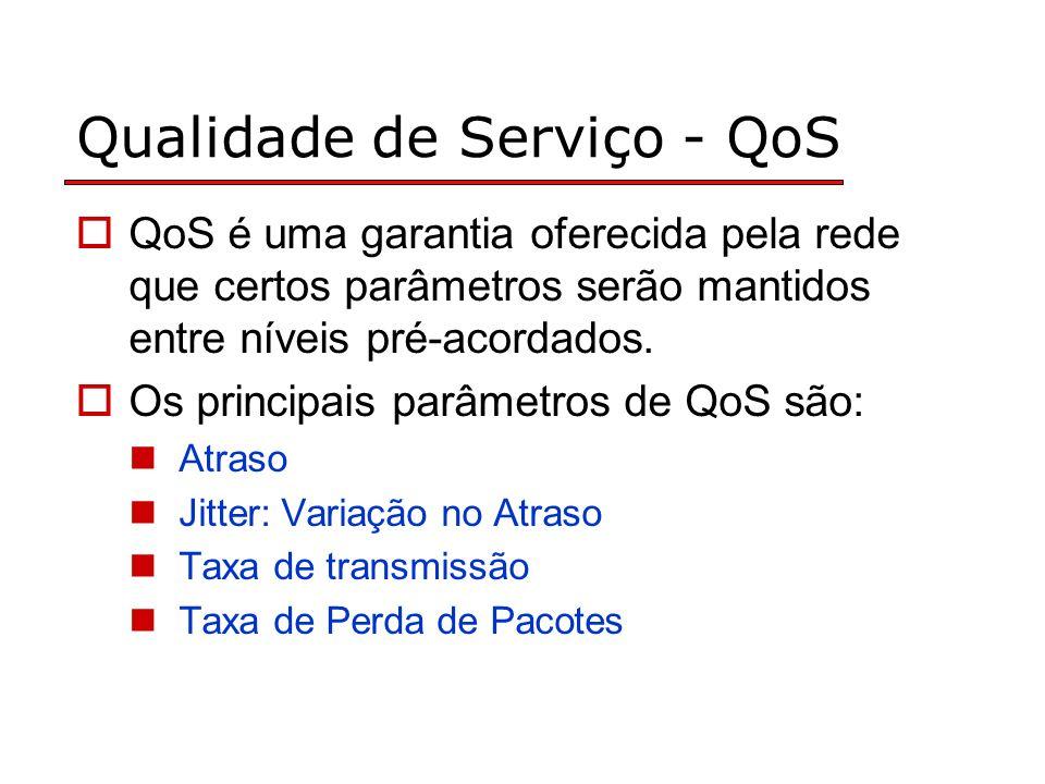 Qualidade de Serviço - QoS QoS é uma garantia oferecida pela rede que certos parâmetros serão mantidos entre níveis pré-acordados. Os principais parâm