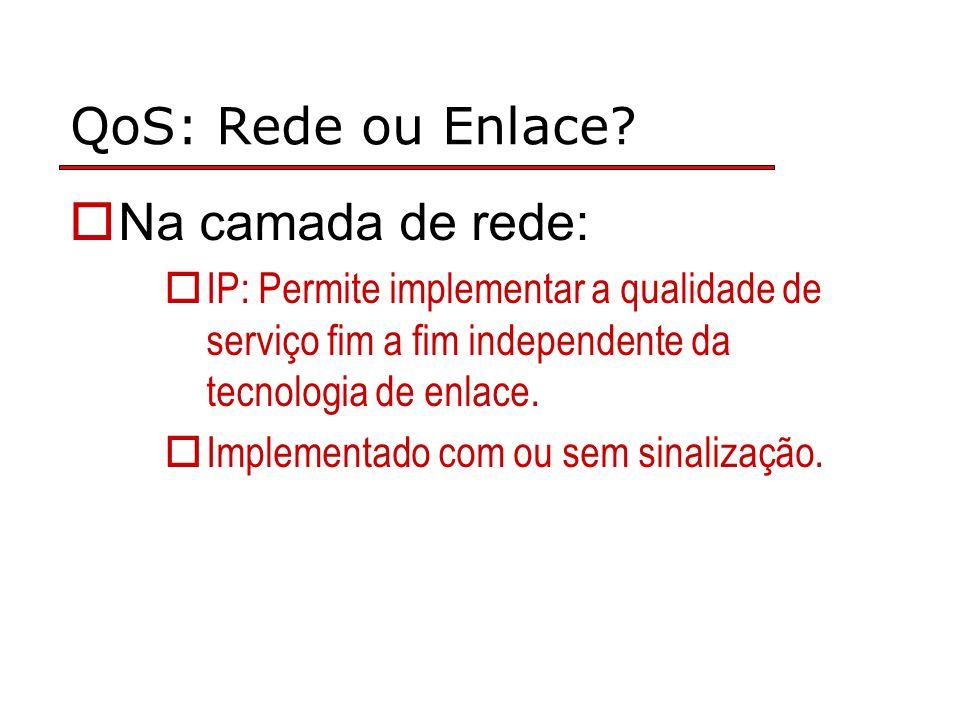 QoS: Rede ou Enlace? Na camada de rede: IP: Permite implementar a qualidade de serviço fim a fim independente da tecnologia de enlace. Implementado co