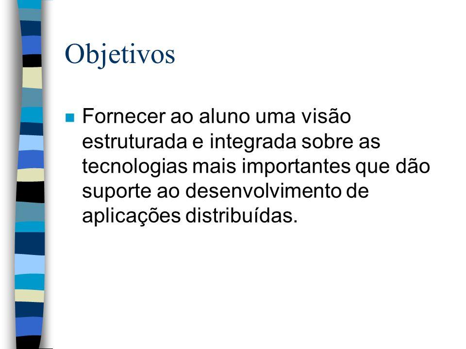Objetivos n Fornecer ao aluno uma visão estruturada e integrada sobre as tecnologias mais importantes que dão suporte ao desenvolvimento de aplicações distribuídas.