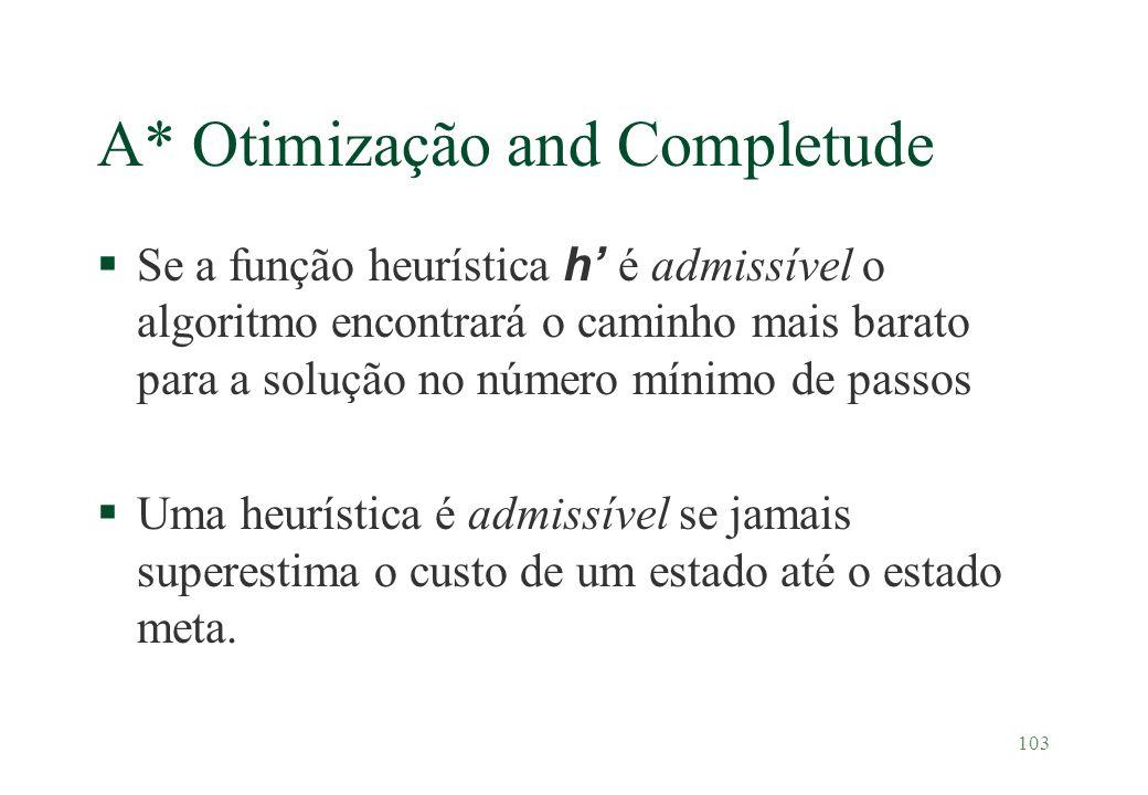 103 A* Otimização and Completude Se a função heurística h é admissível o algoritmo encontrará o caminho mais barato para a solução no número mínimo de