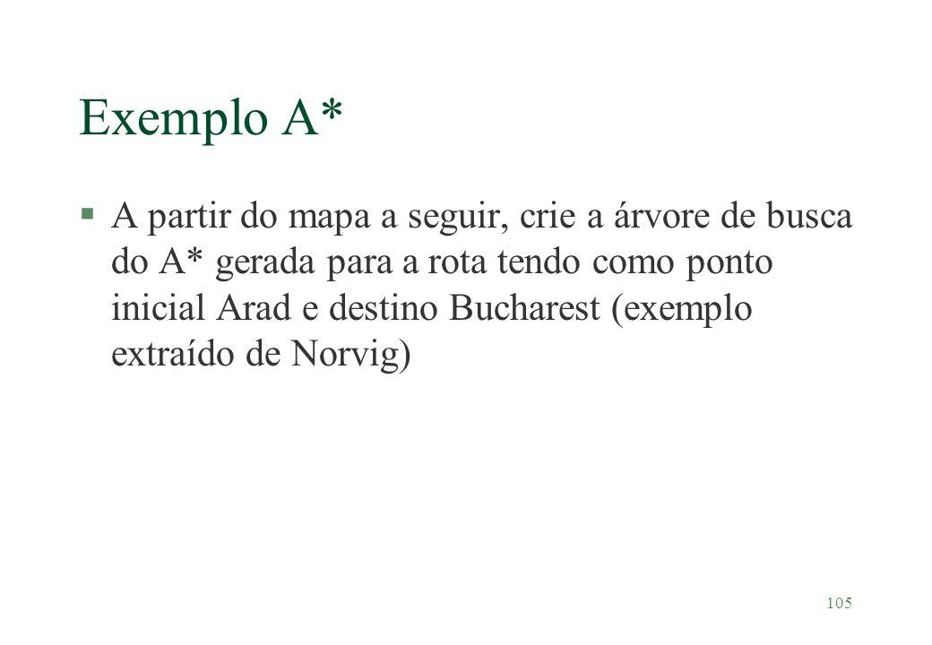 105 Exemplo A* §A partir do mapa a seguir, crie a árvore de busca do A* gerada para a rota tendo como ponto inicial Arad e destino Bucharest (exemplo